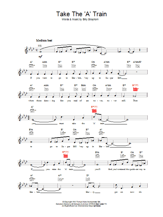 Take The \'A\' Train chords by Billy Strayhorn (Melody Line, Lyrics ...
