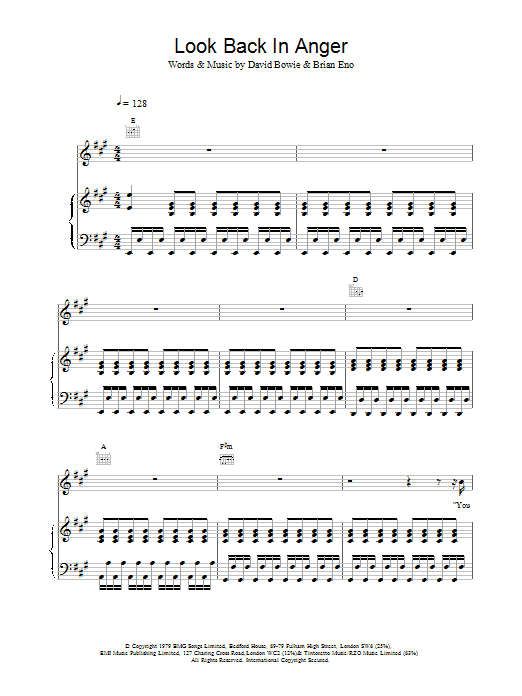 Look Back In Anger Sheet Music