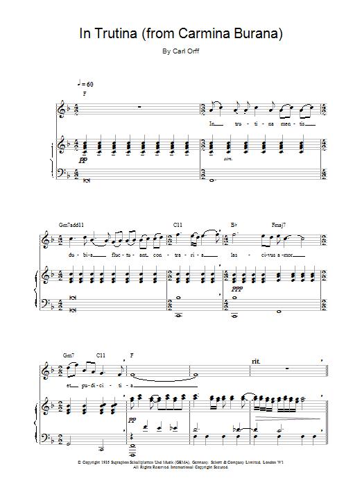 In Trutina (from Carmina Burana) Sheet Music