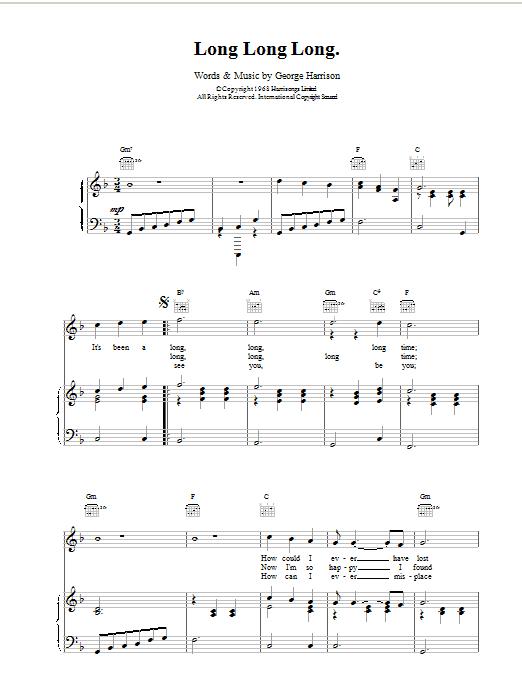 Long Long Long Sheet Music