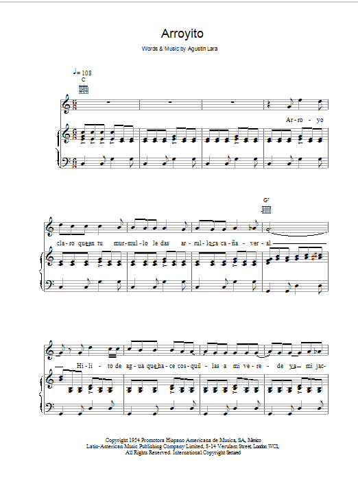 Arroyito Sheet Music