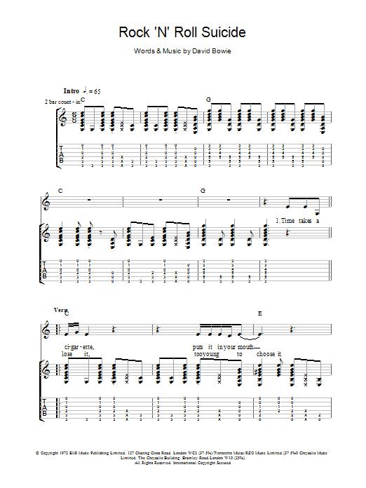 Rock 'N' Roll Suicide Sheet Music