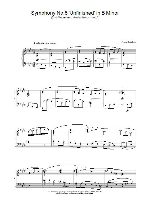 Symphony No.8 'Unfinished' in B Minor - 2nd Movement: Andante con moto (Piano Solo)