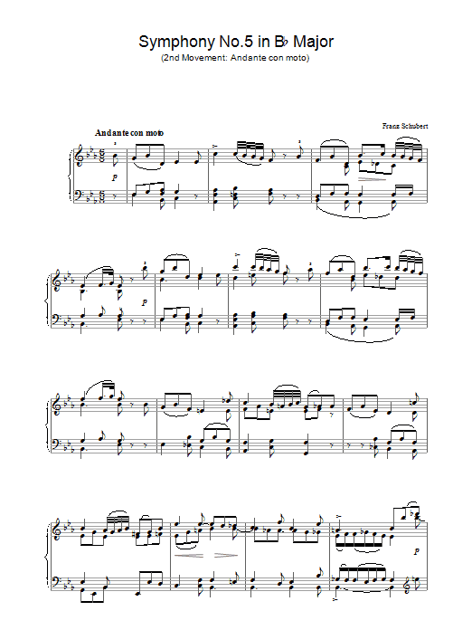 Symphony No.5 in B Flat Major - 2nd Movement: Andante con moto Sheet Music
