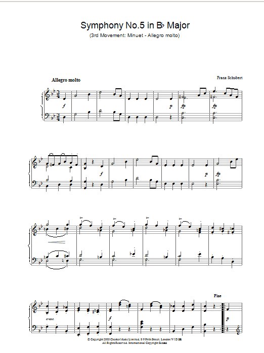 Symphony No.5 in B Flat Major - 3rd Movement: Minuet - Allegro molto Sheet Music