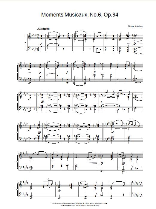 Moments Musicaux, No.6, Op.94 (Piano Solo)