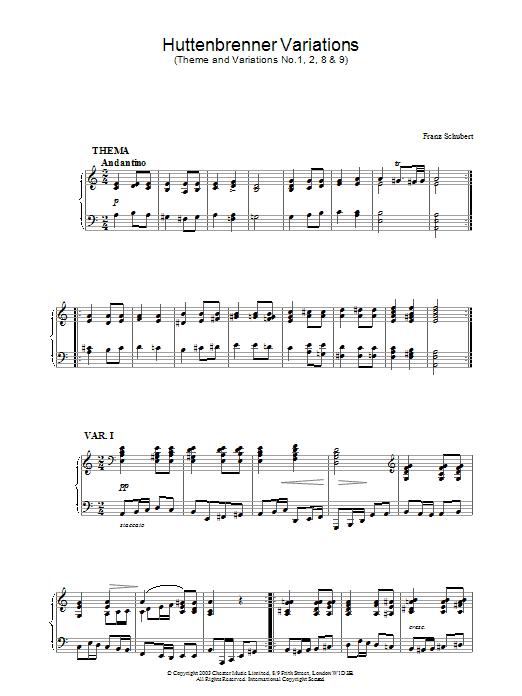 Huttenbrenner Variations (Piano Solo)