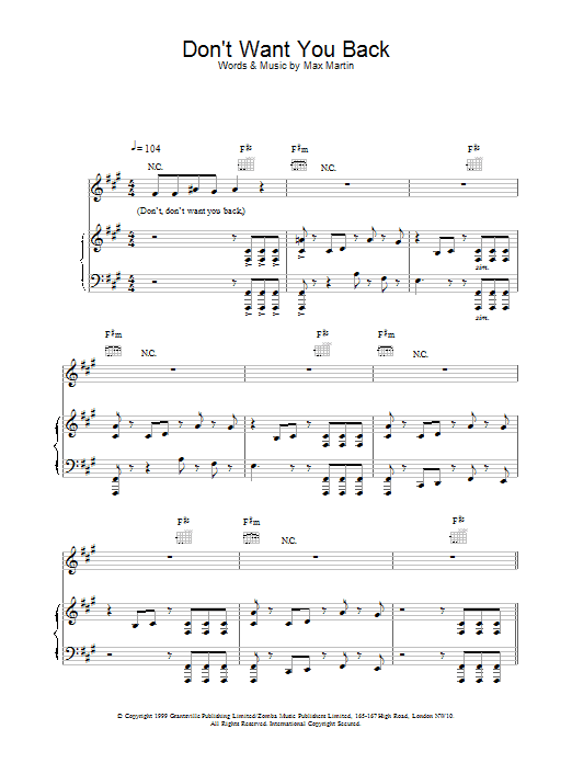 Don't Want You Back Sheet Music