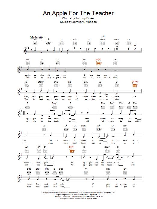 An Apple For The Teacher Sheet Music