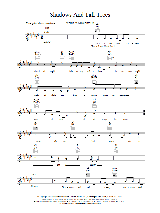 Shadows And Tall Trees Sheet Music
