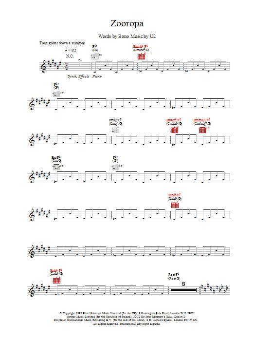 Zooropa Sheet Music