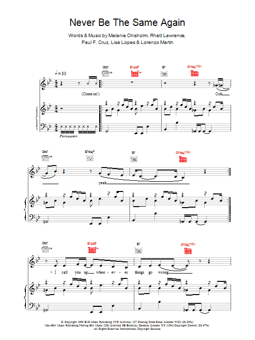 Never Be The Same Again Sheet Music
