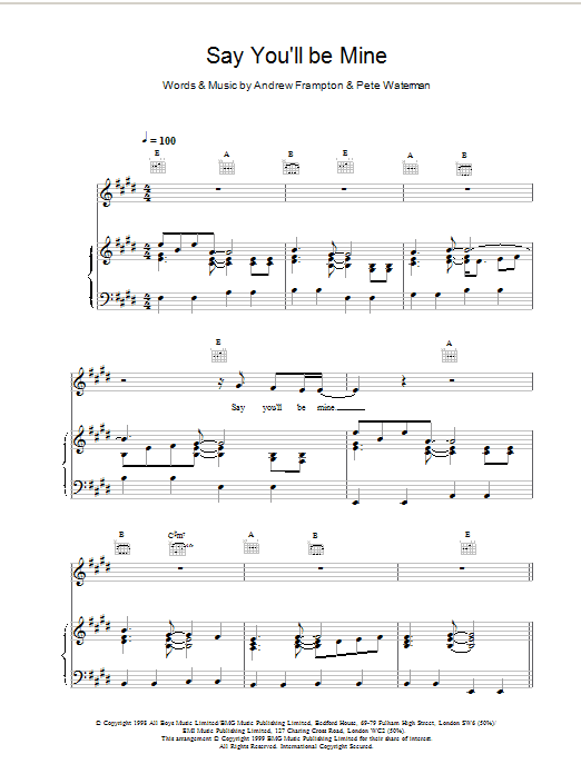 Say Youll Be Mine Sheet Music