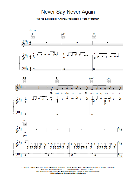 Never Say Never Again Sheet Music