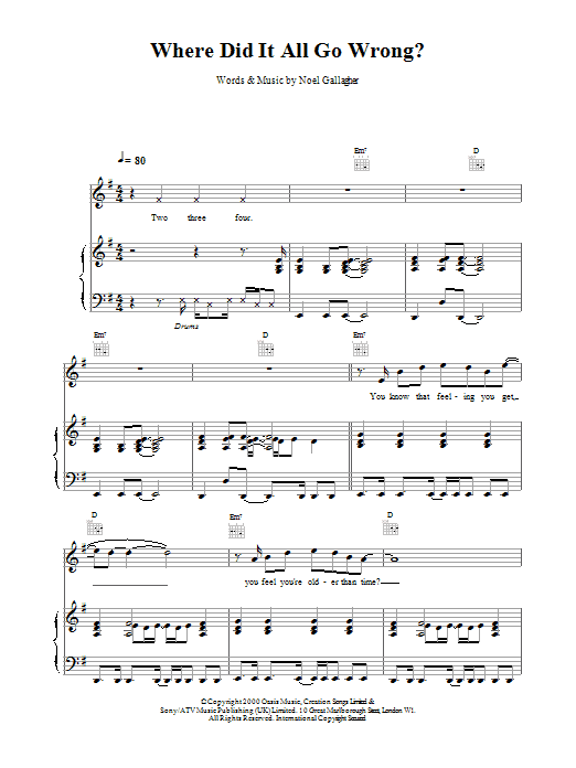 Where Did It All Go Wrong? Sheet Music