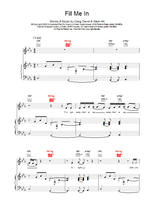 Fill Me In Sheet Music