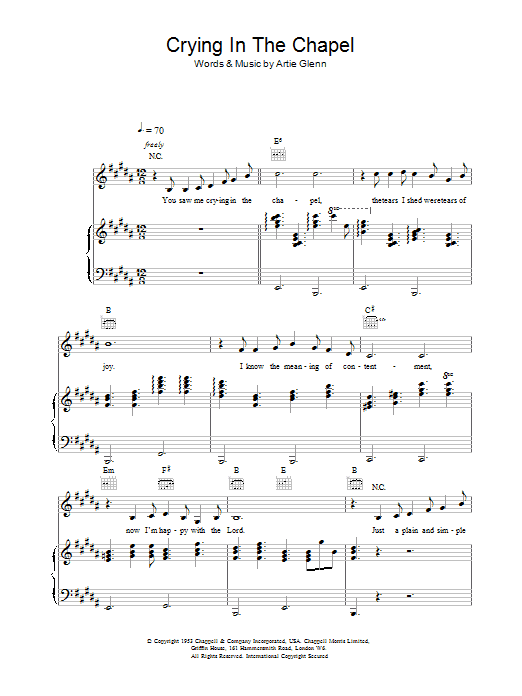 Crying In The Chapel Sheet Music