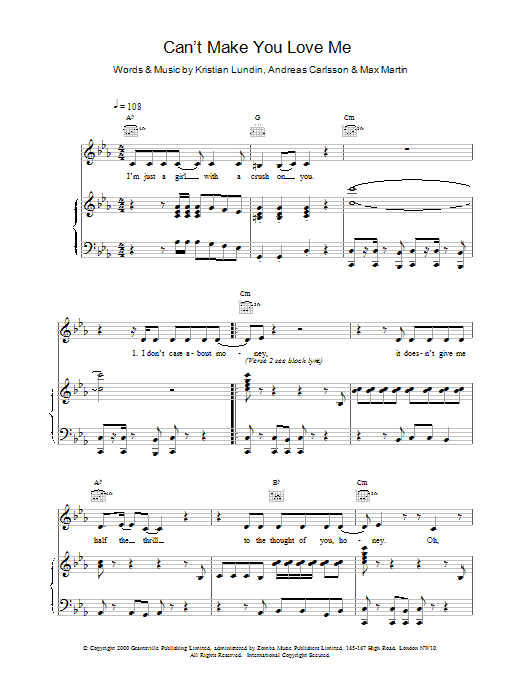 Can't Make You Love Me Sheet Music