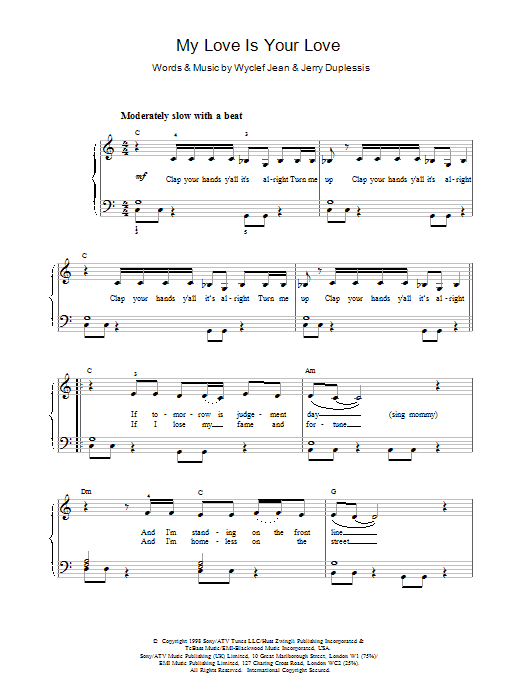 My Love Is Your Love Sheet Music