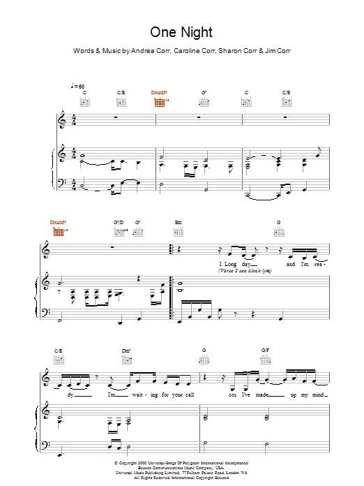 One Night Sheet Music