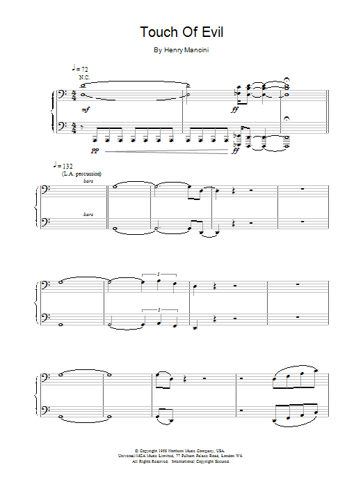 Touch of Evil Sheet Music