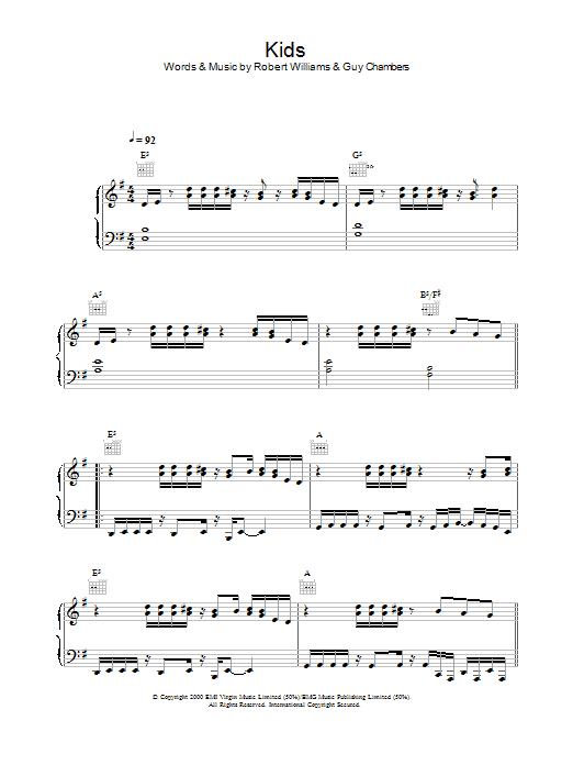 Kids (Piano, Vocal & Guitar)