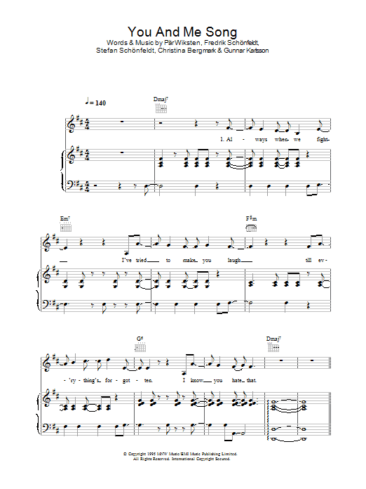 You And Me Song (Piano, Vocal & Guitar)