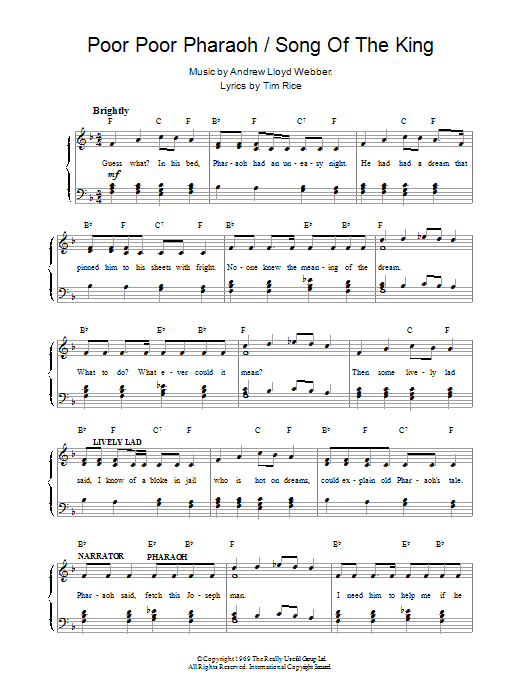 Poor Poor Pharaoh / Song Of The King (from Joseph And The Amazing Technicolor Dreamcoat) Sheet Music
