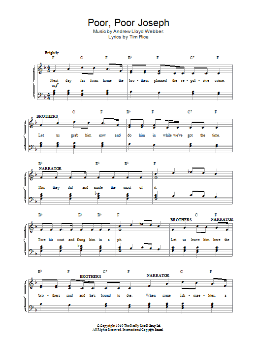 Poor Poor Joseph (from Joseph And The Amazing Technicolor Dreamcoat) Sheet Music