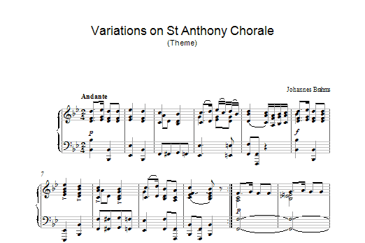 Variations on St Anthony Chorale (Theme) Sheet Music