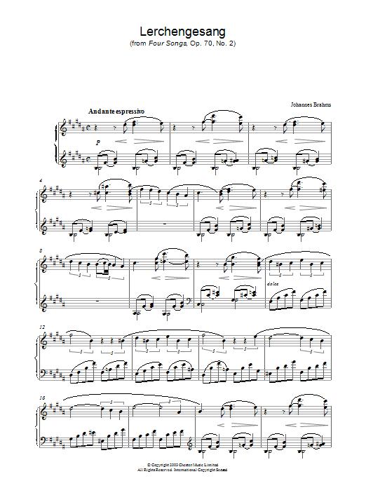 Lerchengesang (from Four Songs, Op. 70, No. 2) Sheet Music
