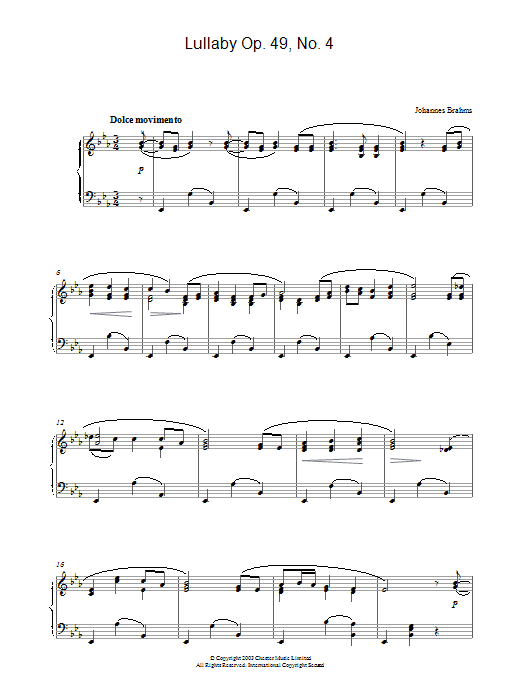 Lullaby Op. 49, No. 4 (Piano Solo)
