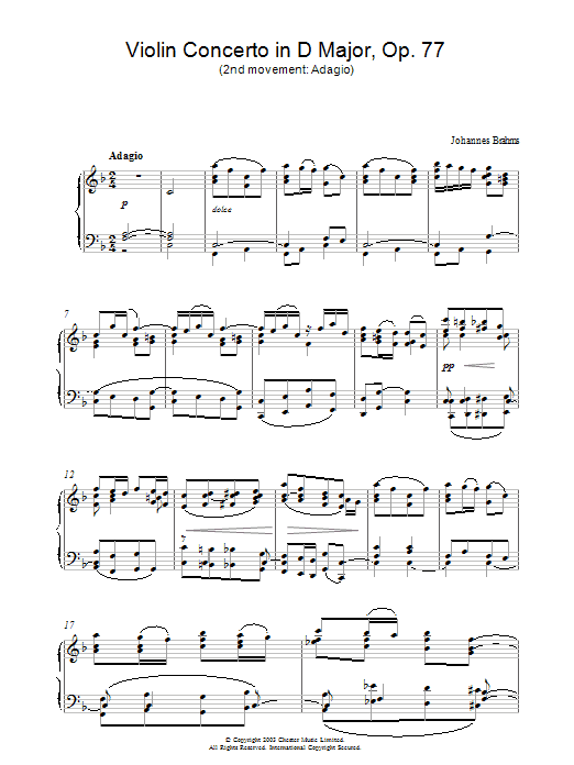 Violin Concerto in D Major, Op. 77 (2nd movement: Adagio) (Piano Solo)