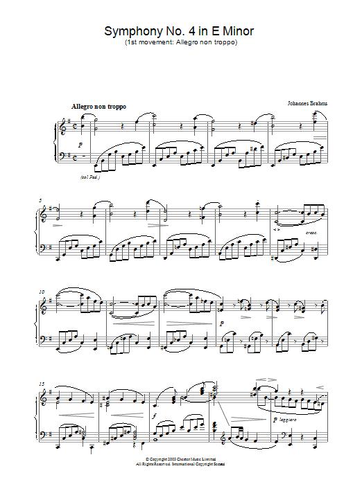 Symphony No. 4 in E Minor (1st movement: Allegro non troppo) Sheet Music