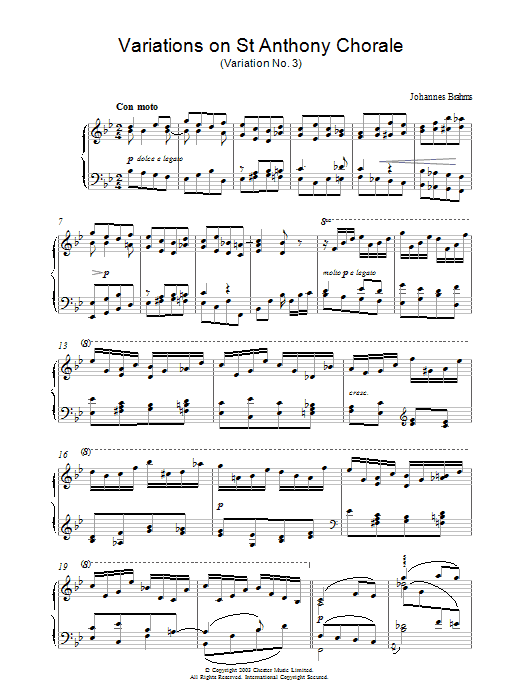 Variations on St Anthony Chorale (Variation No. 3) Sheet Music