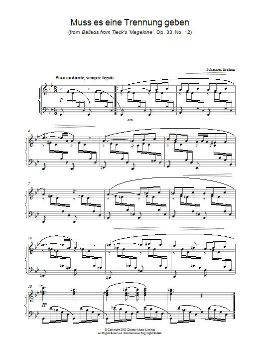 Muss es eine Trennung geben (from Ballads from Tieck's 'Magelone', Op. 33, No. 12) Sheet Music
