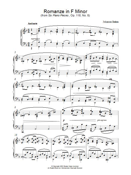 Romanze in F Minor (from Six Piano Pieces, Op. 118, No. 5) (Piano Solo)