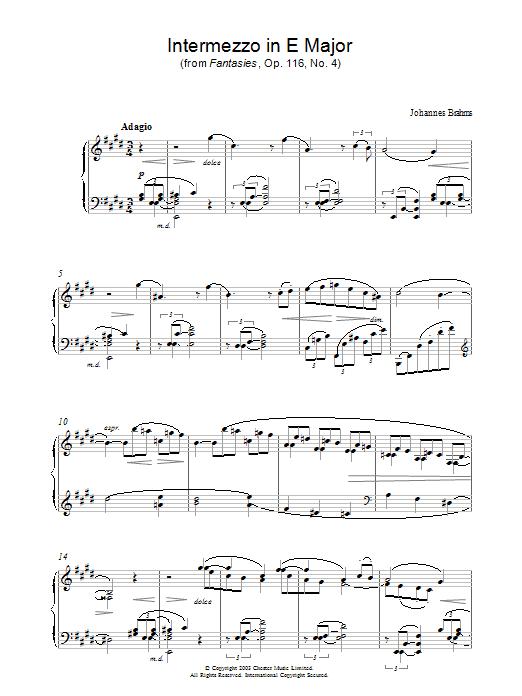 Intermezzo in E Major (from Fantasies, Op. 116, No. 4) (Piano Solo)