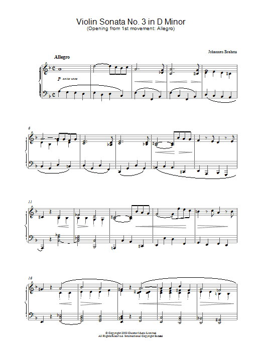 Violin Sonata No. 3 in D Minor (Opening from 1st movement: Allegro) Sheet Music