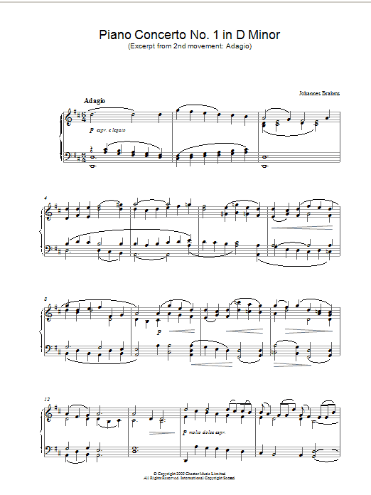 Piano Concerto No. 1 in D Minor (Excerpt from 2nd movement: Adagio) Sheet Music