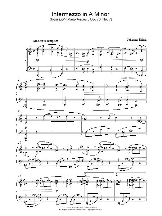 Intermezzo in A Minor (from Eight Piano Pieces, Op. 76, No. 7) (Piano Solo)