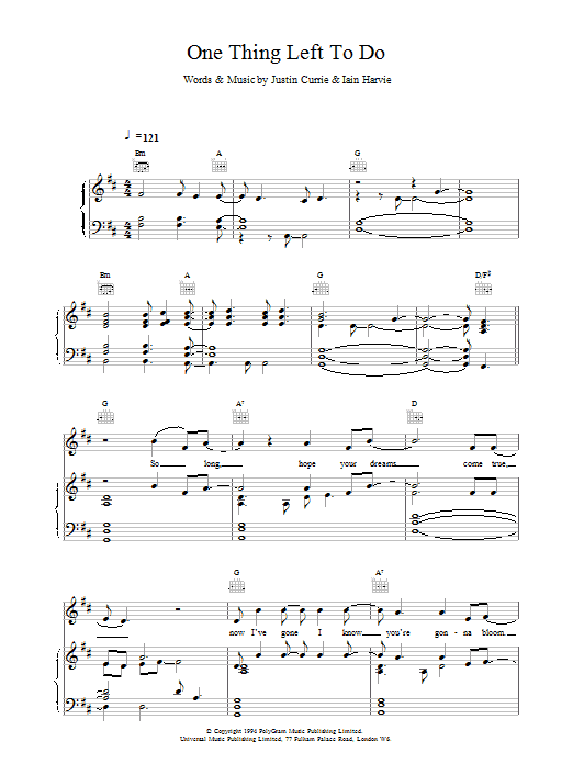 One Thing Left To Do Sheet Music