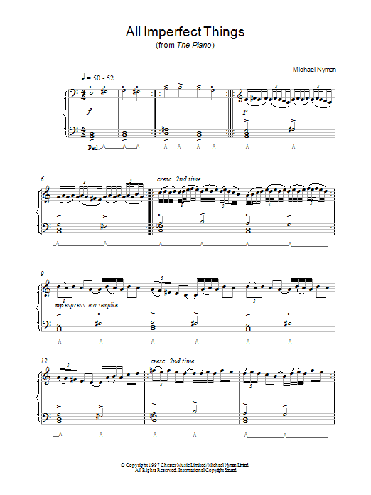 All Imperfect Things (from The Piano) Sheet Music