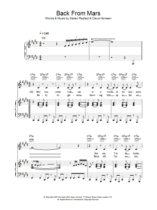 Back From Mars Sheet Music