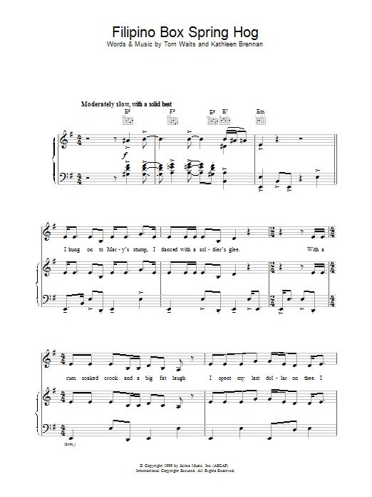 Filipino Box Spring Hog Sheet Music