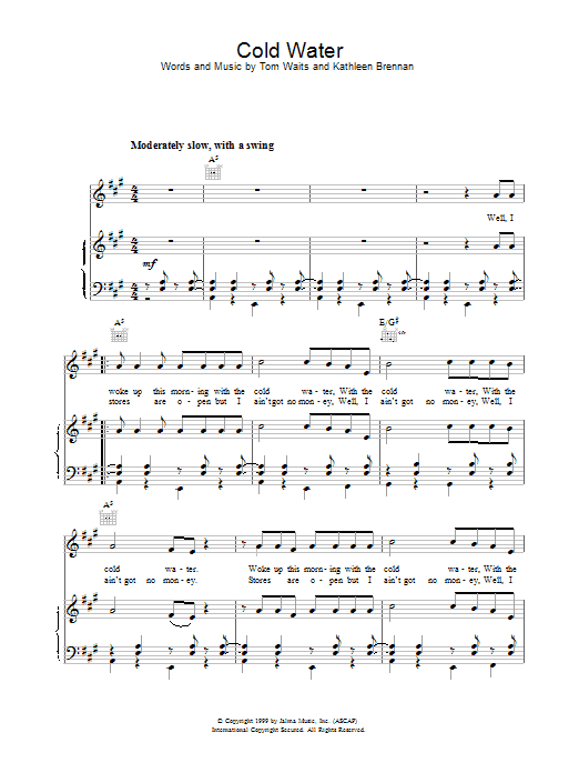 Cold Water Sheet Music