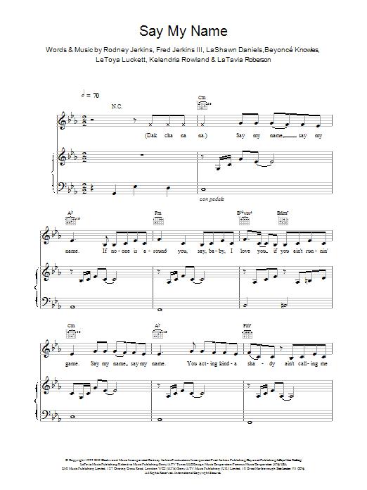 Say My Name (Piano, Vocal & Guitar)