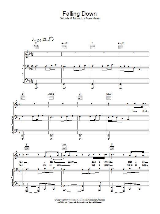 Falling Down (Piano, Vocal & Guitar)