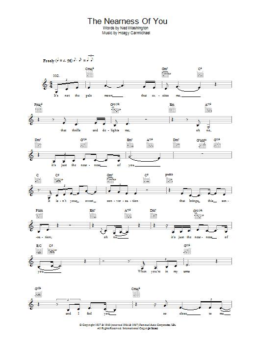 The Nearness Of You Sheet Music Norah Jones Melody Line Lyrics
