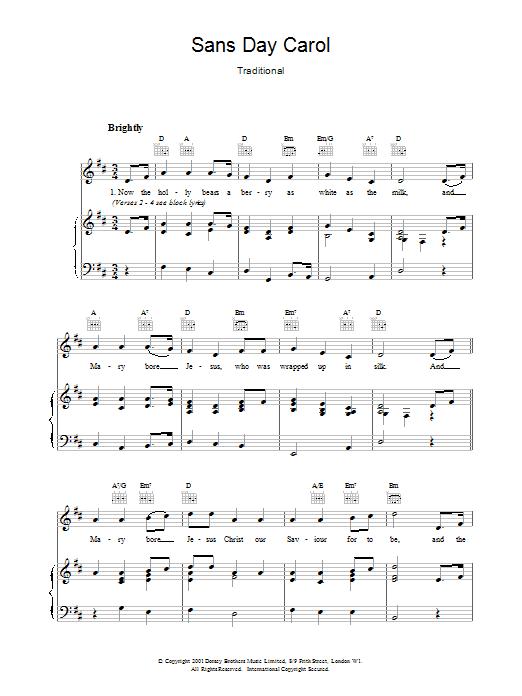 Sans Day Carol Sheet Music